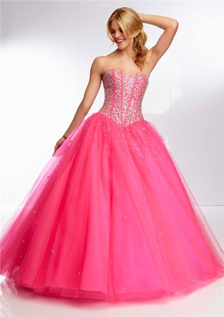 Ball Gown Sweetheart Long Hot Pink Tulle Beaded Boned