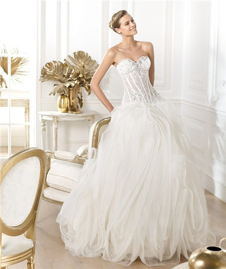 See Through Wedding Gown: Ball Gown Sweetheart Sheer See Through Lace Organza Corset