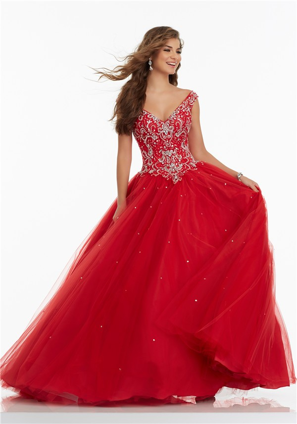 Ball Gown V Neck Basque Waist Red Tulle Beaded Prom Dress