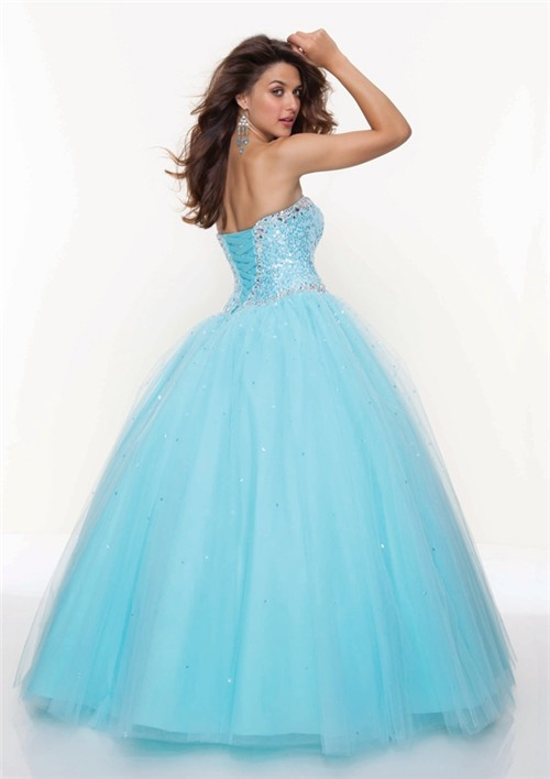 Ball Gown Sweetheart Floor Length Blue Tulle Prom Dress