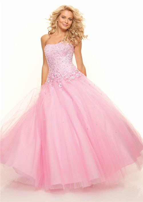 Ball Gown Sweetheart Floor Length Pink Sequins Prom Dress