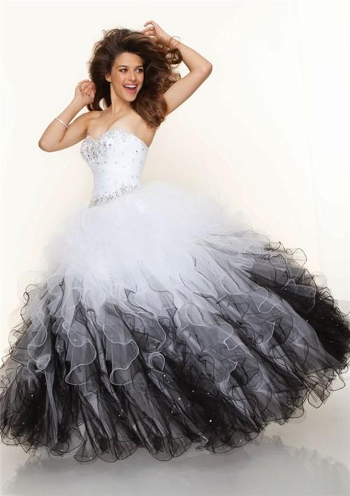 Ball Gown Sweetheart Floor Length White Black Multi Color