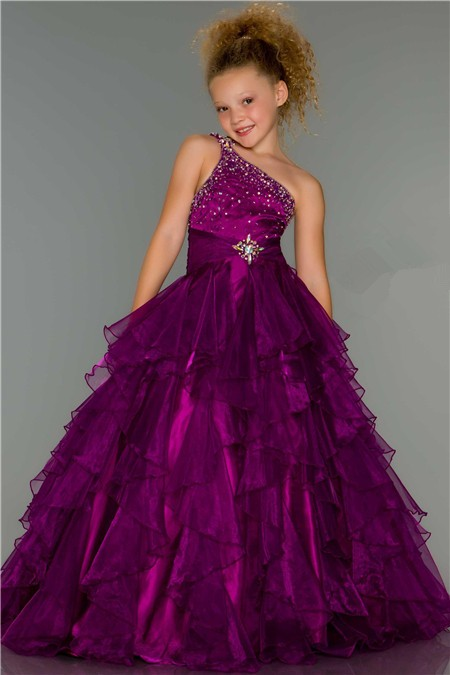 Ball One Shoulder Long Purple Beaded Organza Ruffle Little ...