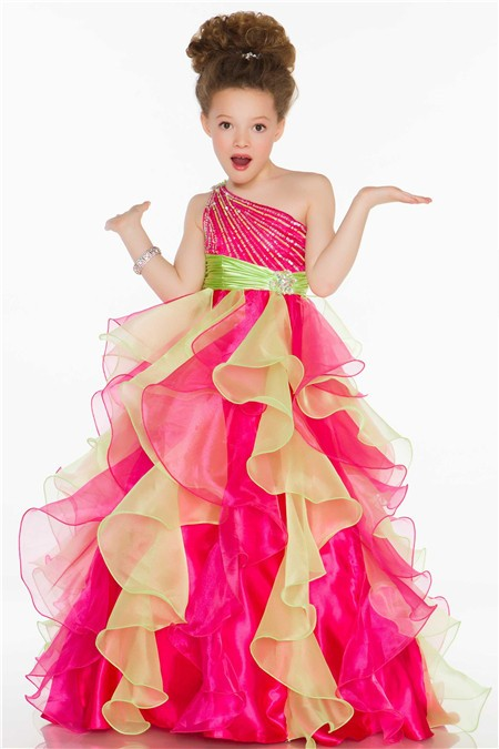 Ball One Shoulder Pink Lime Green Organza Ruffle Sequin