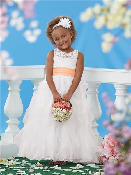 Ball Scoop White Lace Organza Ruffle Orange Sash Wedding