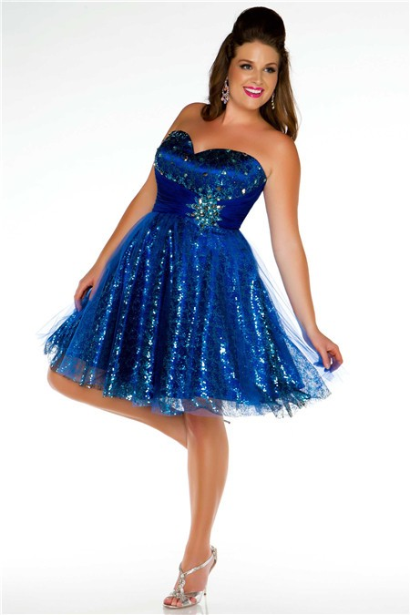 Ball Sweetheart Mini Short Royal Blue Sequined Beaded Plus ...