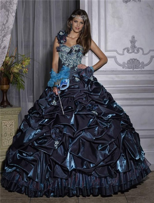 Beautiful Ball Gown One Shoulder Navy Blue Taffeta