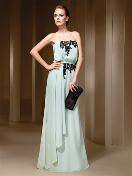Bohemian Strapless Seafoam Green Chiffon Black Lace Formal
