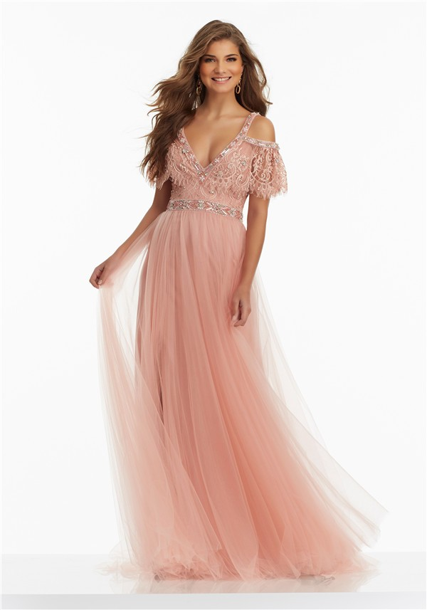 Boho V Neck Off The Shoulder Long Rose Tulle Lace Prom Dress