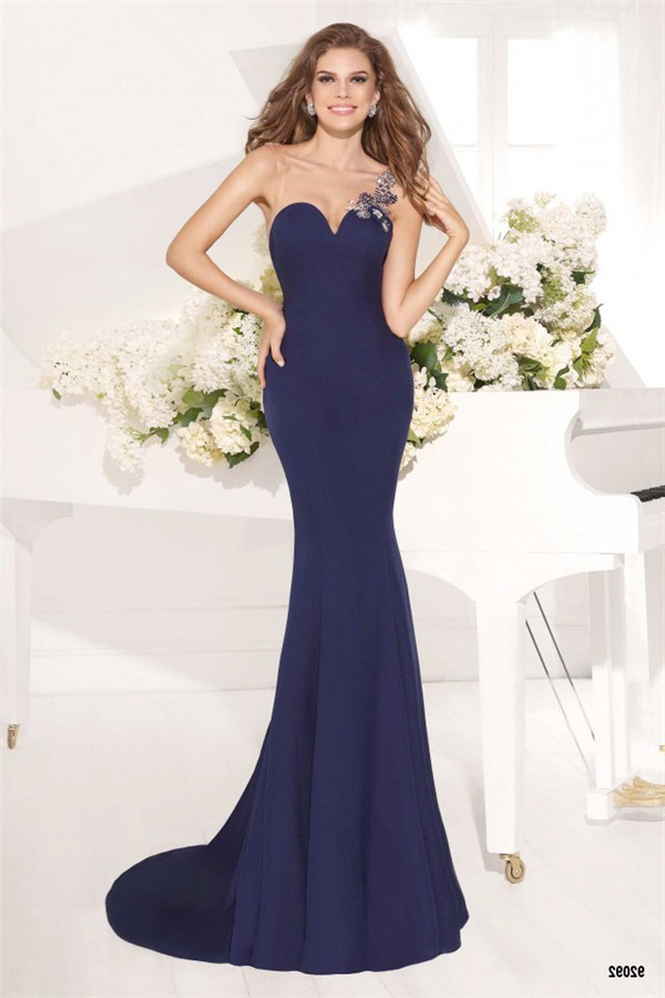 Charming Illusion Neckline Navy Blue Satin Beaded Evening