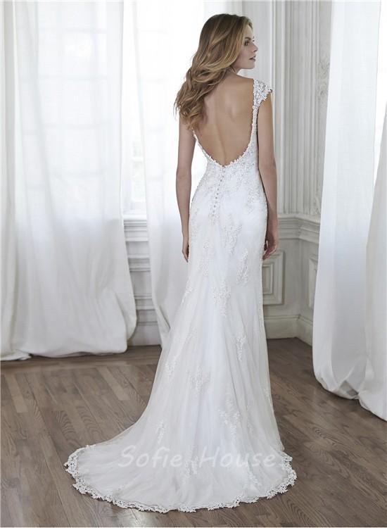 Charming Mermaid Backless Cap Sleeve Lace Beaded Wedding Dress