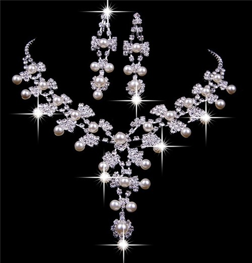 Charming Shining Pearls Crystals Wedding Bridal Jewelry Set Including Necklace And Earrings