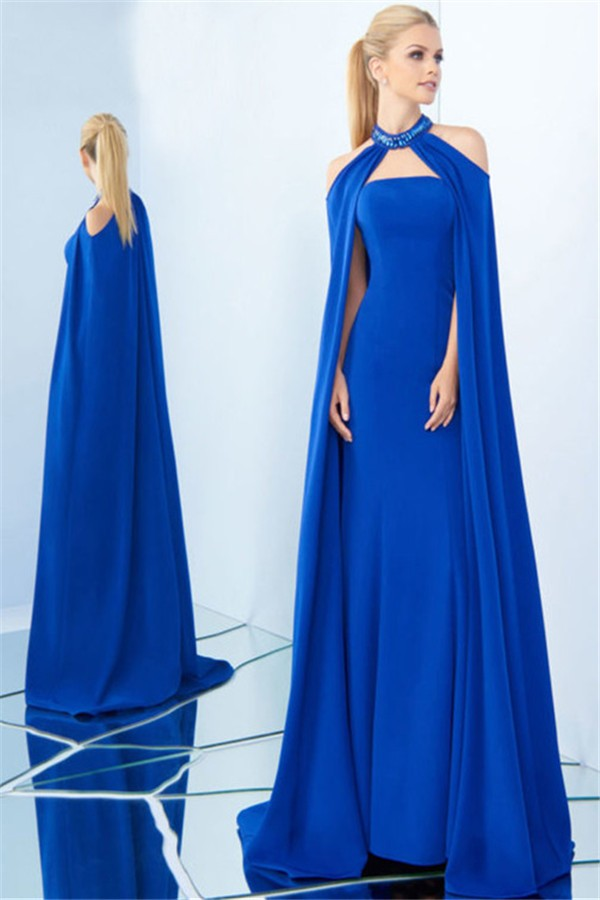 Charming Strapless Royal Blue Satin Evening Prom Dress