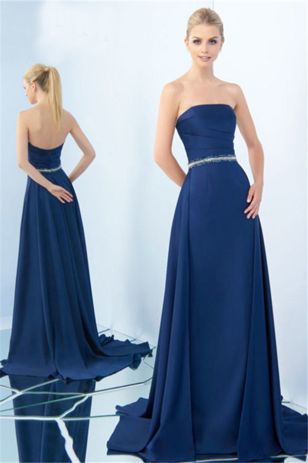 Chic Strapless Long Navy Satin Beaded Belt Evening Prom