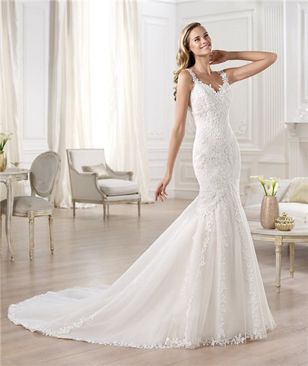 Lace Wedding Gown With Straps: Classic Fitted Mermaid V Neck Open Back Lace Wedding Dress