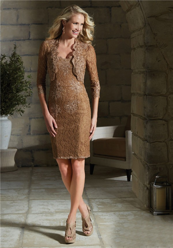 Column Strapless Short Brown Lace Evening Dress With