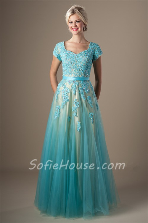 Cute A Line Long Light Blue Tulle Lace Beaded Modest Prom ...