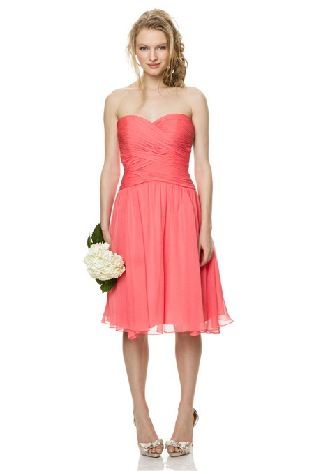 Cute A Line Strapless Sweetheart Short Coral Chiffon