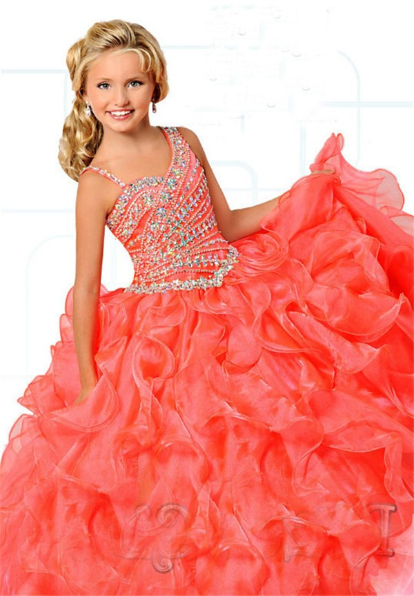 Cute Ball Gown Coral Organza Ruffle Beaded Girl Pageant