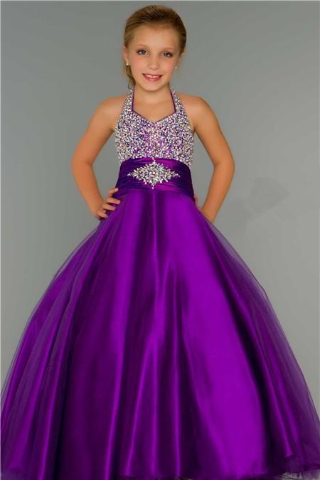 Cute Ball Gown Halter Purple Tulle Beading Flower Girl