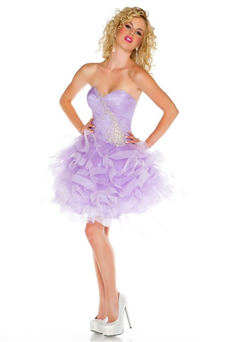 Cute Ball Sweetheart Short Mini Lilac Purple Tulle Puffy