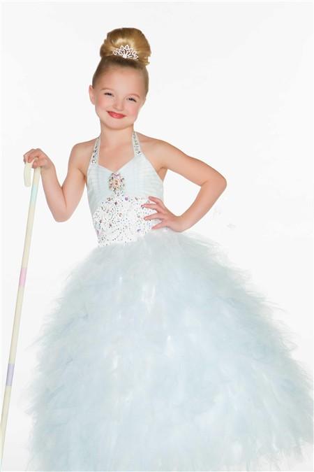Cute Princess Halter White Puffy Tulle Beading Flower Girl