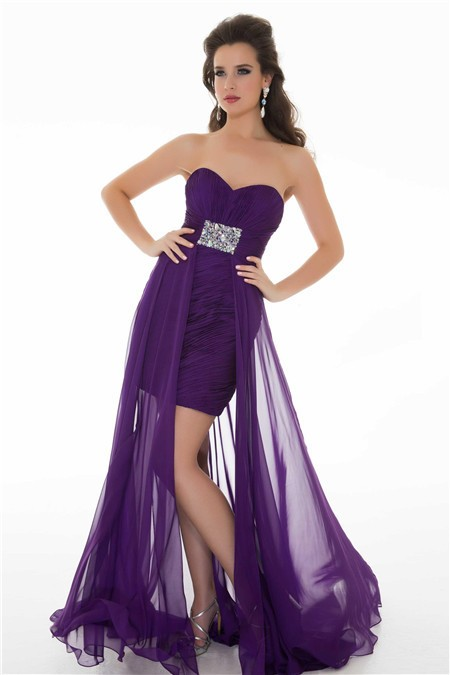 Cute Sheath Strapless Long Purple Chiffon Homecoming Prom