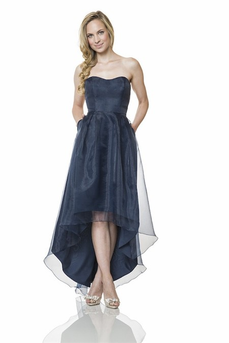 Cute Strapless Sweetheart High Low Navy Blue Organza Party