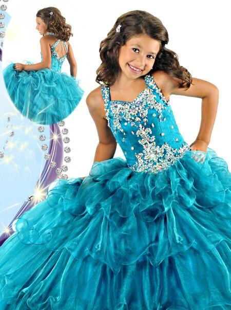 Cute Tiered Teal Blue Organza Ruffle Beaded Little Girls