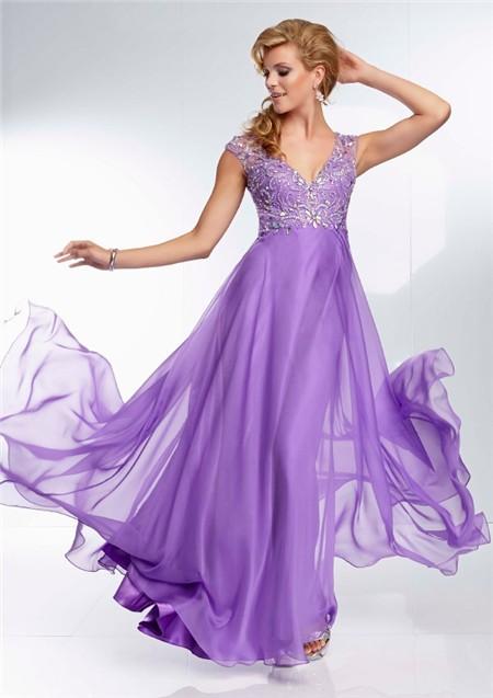 Elegant A Line V Neck Backless Long Lavender Purple