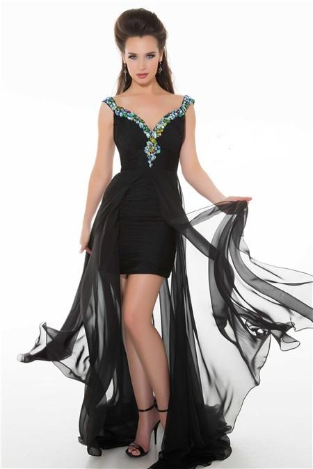 Elegant Flowing Cap Sleeve Long Black Chiffon Beaded