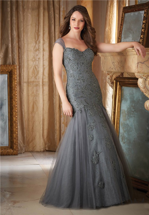 Elegant Mermaid Sweetheart Charcoal Grey Tulle Lace Beaded