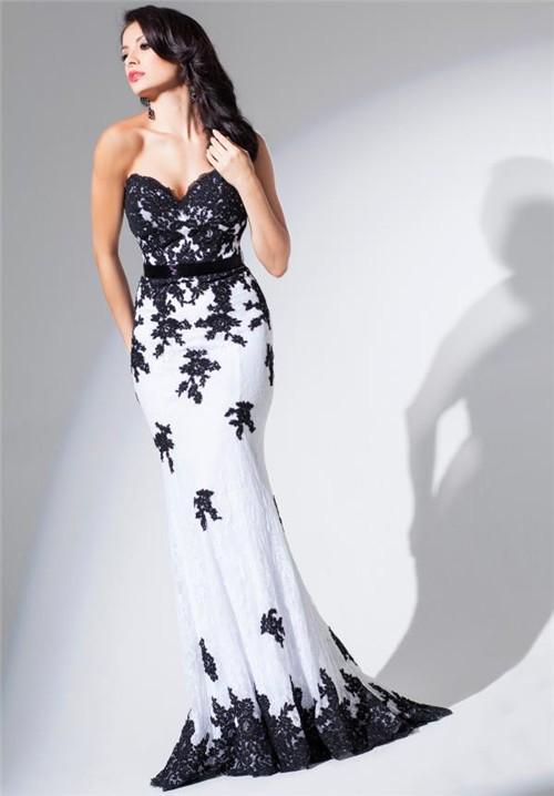 Elegant Mermaid Sweetheart White And Black Tulle Lace Long