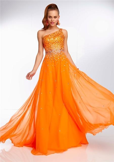 Elegant One Shoulder Long Neon Orange Chiffon Beaded Prom