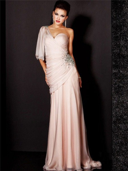 Elegant Sheath One Shoulder Long Light Pink Chiffon Beaded