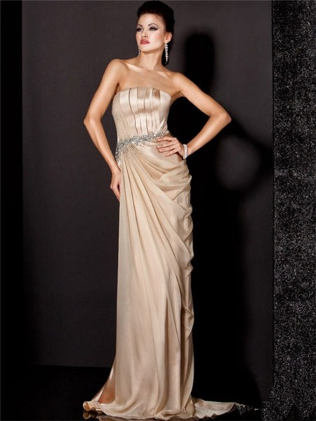 Elegant Sheath Strapless Long Champagne Silk Beaded