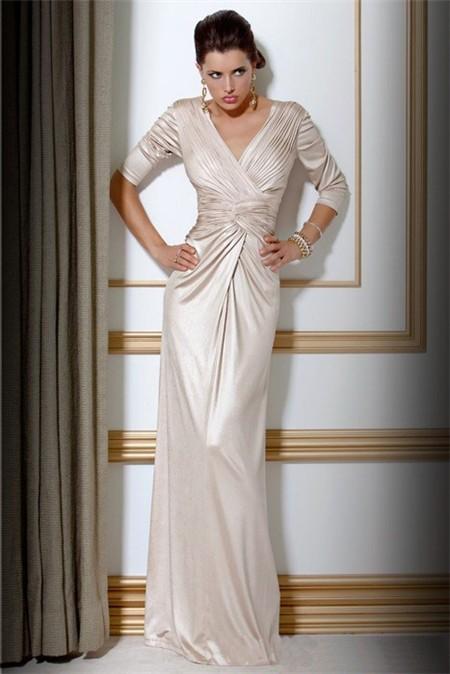 Elegant Slim Sheath V Neck Long Ivory Silk Evening Dress