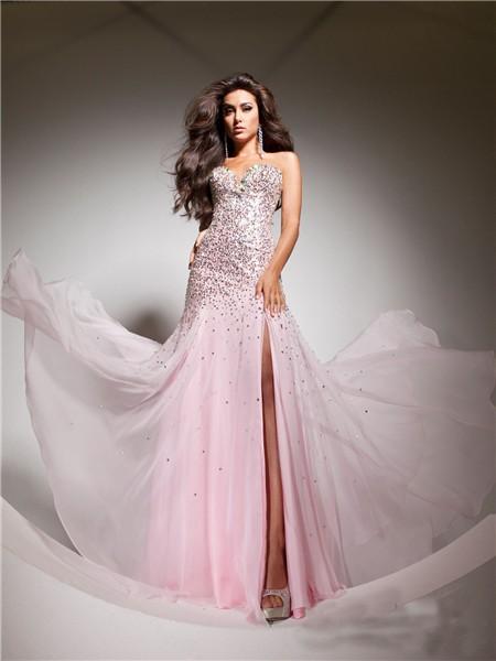 Elegant Sweetheart Pink Beaded Sequins Chiffon Flowy Prom