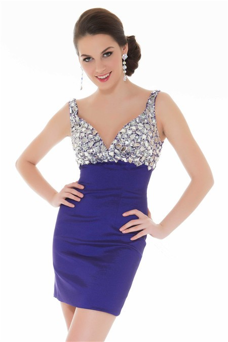 Elegant Tight Sweetheart Short Mini Purple Beaded