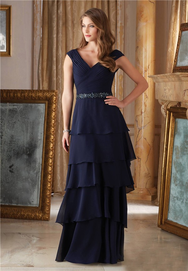 Elegant V Neck Navy Blue Chiffon Ruffle Tiered Mother Of
