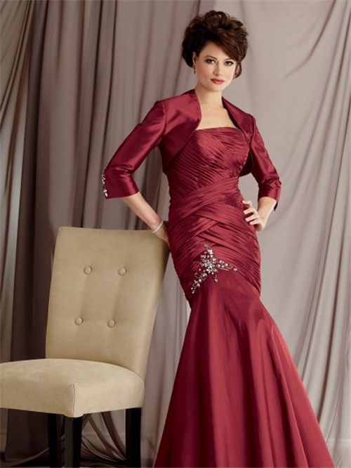 Elegant Mermaid Floor Length Burgundy Taffeta Mother The Bride Dress Jacket
