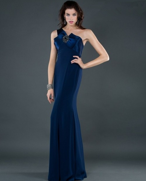 Elegant Sheath One Shoulder Long Navy Blue Chiffon Evening