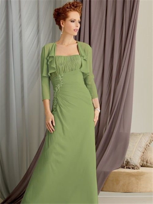 Elegant Strapless Floor Length Green Chiffon Mother Of The
