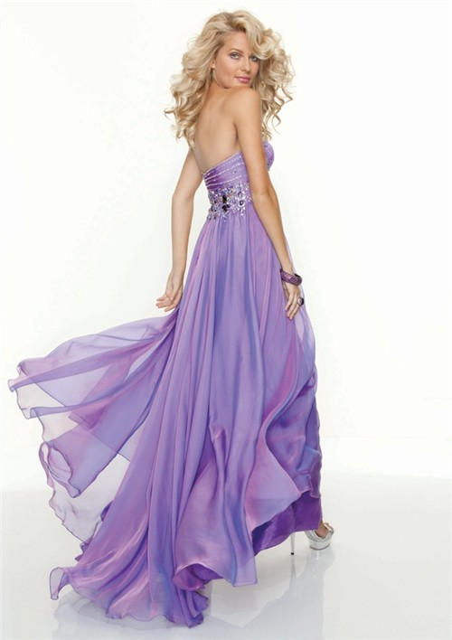 Elegant Sweetheart Floor Length Lilac Chiffon Prom Dress