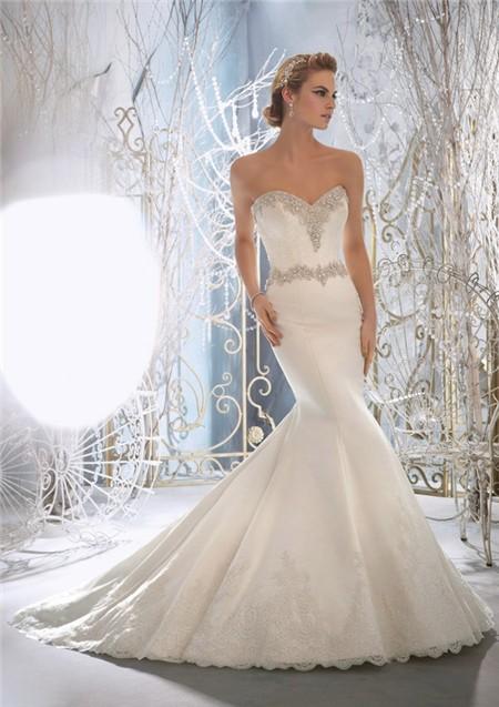 Fairy Tale Mermaid Sweetheart Crystal Beaded Satin Wedding