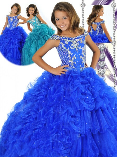 Fancy Ball Gown Royal Blue Tulle Beaded Girls Pageant