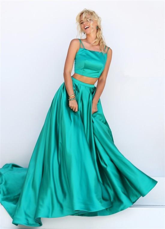 Fantastic A Line Two Piece Green Silk Satin Prom Dress