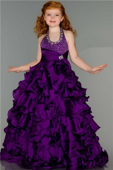 Fantasy Ball Halter Purple Ruffle Beaded Little Girl