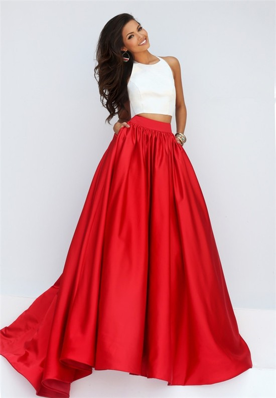 Fashion A Line Halter Two Piece White And Red Silk Satin