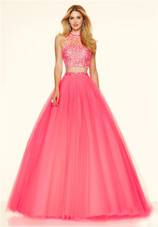 Fashion Ball Gown High Neck Two Piece Hot Pink Tulle